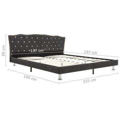 vidaXL Bed Frame Dark Grey Fabric 137x187 cm Double