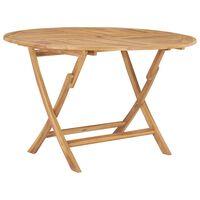 vidaXL Folding Garden Table Ø 120 cm Solid Teak Wood