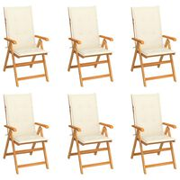vidaXL Garden Chairs 6 pcs with Cream Cushions Solid Teak Wood