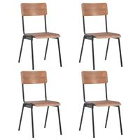 vidaXL Dining Chairs 4 pcs Brown Solid Plywood Steel