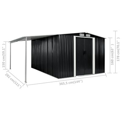 vidaXL Garden Shed with Sliding Doors Anthracite 386x312x178 cm Steel