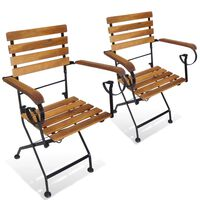 vidaXL Folding Garden Chairs 2 pcs Steel and Solid Acacia Wood