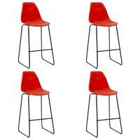 vidaXL Bar Chairs 4 pcs Red Plastic