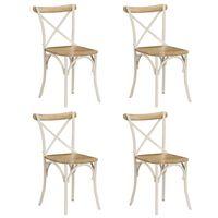 vidaXL Cross Chairs 4 pcs White Solid Mango Wood