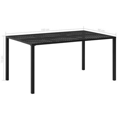 vidaXL Garden Table Black 150x90x72 cm Steel