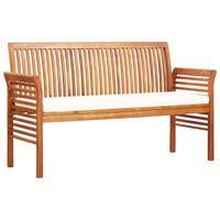 vidaXL 3-Seater Garden Bench with Cushion 150 cm Solid Acacia Wood