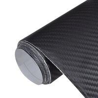 vidaXL Carbon Fiber Vinyl Car Film 3D Black 152 x 500 cm