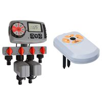 vidaXL Automatic Water Timer with 4 Stations and Moisture Sensor 3 V