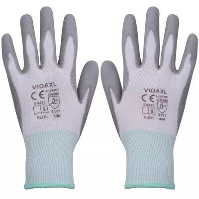 vidaXL Work Gloves PU 24 Pairs White and Grey Size 8/M, Grey