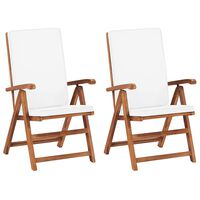 vidaXL Reclining Garden Chairs with Cushions 2 pcs Solid Teak Wood Cream