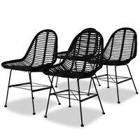 vidaXL Dining Chairs 4 pcs Black Natural Rattan