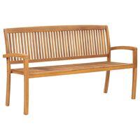 vidaXL 3-Seater Stacking Garden Bench 159 cm Solid Teak Wood
