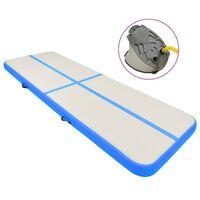 vidaXL Inflatable Gymnastics Mat with Pump 400x100x20 cm PVC Blue