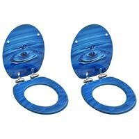 vidaXL WC Toilet Seats with Soft Close Lid 2 pcs MDF Blue Water Drop Design