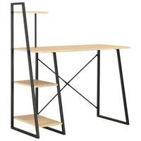 vidaXL Desk with Shelving Unit Black and Oak 102x50x117 cm