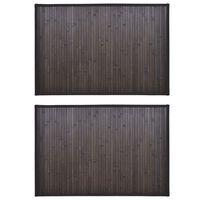 vidaXL Bamboo Bath Mats 2 pcs 60x90 cm Dark Brown