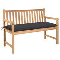 vidaXL Garden Bench with Anthracite Cushion 120 cm Solid Teak Wood