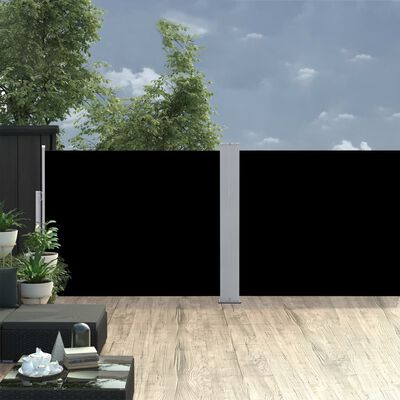 vidaXL Retractable Side Awning Black 170x1000 cm
