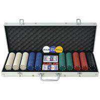 vidaXL Poker Set with 500 Chips Aluminium