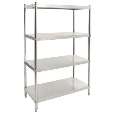 vidaXL 4-Tier Kitchen Shelf 100x50x155 cm Stainless Steel