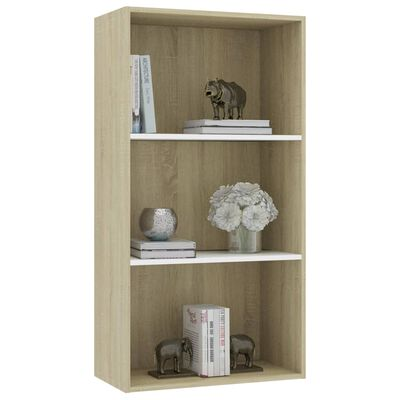 vidaXL 3-Tier Book Cabinet White and Sonoma Oak 60x30x114 cm Chipboard