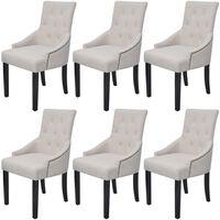 vidaXL Dining Chairs 6 pcs Cream Grey Fabric