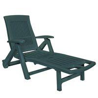 vidaXL Sun Lounger with Footrest Plastic Green