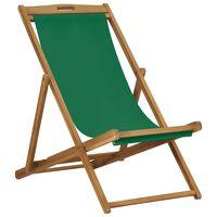 vidaXL Folding Beach Chair Solid Teak Wood Green