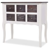 vidaXL Console Cabinet 6 Drawers Brown and White Wood