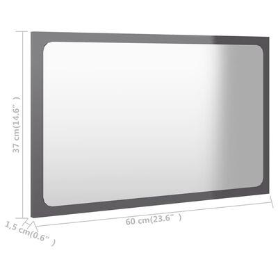 vidaXL Bathroom Mirror High Gloss Grey 60x1.5x37 cm Chipboard