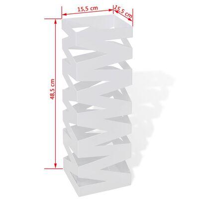 White Square Umbrella Stand Storage Holder Walking Stick Steel 48.5 cm