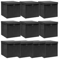 vidaXL Storage Boxes with Lids 10 pcs Black 32x32x32 cm Fabric