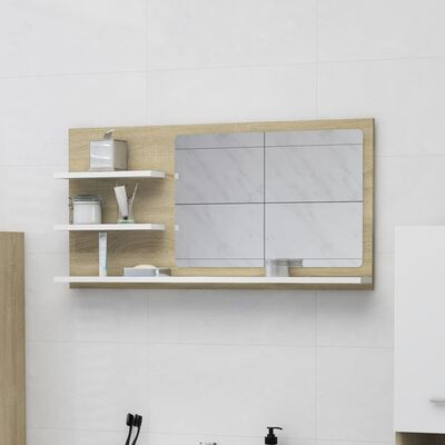 vidaXL Bathroom Mirror White and Sonoma Oak 90x10.5x45 cm Chipboard