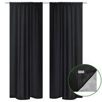 2 pcs Black Energy-saving Blackout Curtains Double Layer 140 x 245 cm