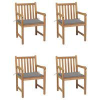 vidaXL Garden Chairs 4 pcs with Grey Cushions Solid Teak Wood