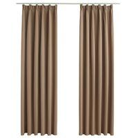 vidaXL Blackout Curtains with Hooks 2 pcs Taupe 140x245 cm