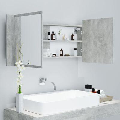 vidaXL LED Bathroom Mirror Cabinet Concrete Grey 100x12x45 cm