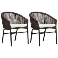 vidaXL Garden Chairs 2 pcs Brown PVC Rattan