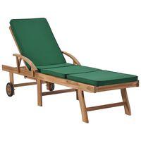 vidaXL Sun Lounger with Cushion Solid Teak Wood Green
