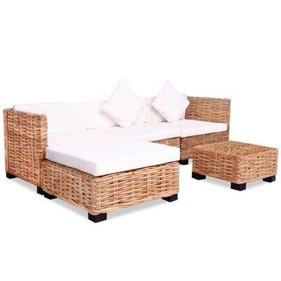 vidaXL Sofa Set 14 Pieces Natural Rattan