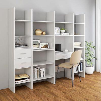 vidaXL Book Cabinet High Gloss White 60x35x180 cm Chipboard