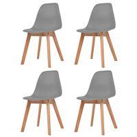 vidaXL Dining Chairs 4 pcs Grey Plastic