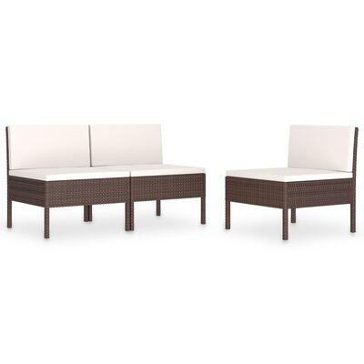 vidaXL Garden Chairs 3 pcs with Cushions Poly Rattan Brown