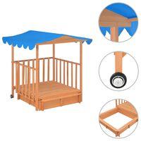 vidaXL Kids Playhouse with Sandbox Fir Wood Blue UV50