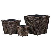 vidaXL Garden Raised Beds 3 pcs Water Hyacinth Brown