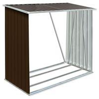 vidaXL Garden Log Storage Shed Galvanised Steel 163x83x154 cm Brown