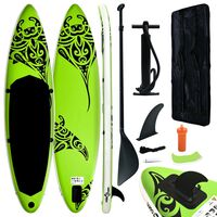 vidaXL Inflatable Stand Up Paddleboard Set 320x76x15 cm Green