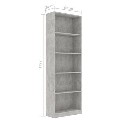 vidaXL 5-Tier Book Cabinet Concrete Grey 60x24x175 cm Chipboard, ConcreteGrey
