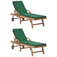 vidaXL Sun Loungers with Cushions 2 pcs Solid Teak Wood Green