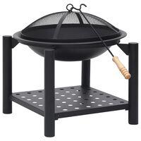 vidaXL Fire Pit with Poker 54x54x55 cm Steel